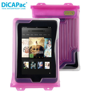 The DiCAPac Universal Waterproof Case for Tablets in pink is a protective case providing 100% tablet waterproofing and touchscreen operation up to a size of 8 inches for activities that require near water or even underwater adventures.