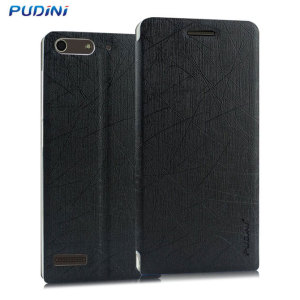 The Pudini Flip and Stand Case in black offers high protection for your Huawei Ascend G6. It provides a perfect fit and stylish design as well as a built-in stand for viewing media or web browsing.