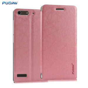 The Pudini Clear Window Flip and Stand Case in pink offers high protection for your Huawei Ascend G6. It provides a perfect fit and stylish design as well as a clear window and built-in stand for viewing media or web browsing.
