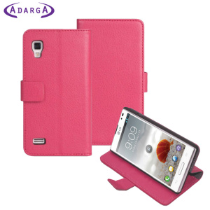 The Adarga Stand and Type Wallet Case in pink clips to the back of your LG Optimus L9 to provide enclosed protection and can also be used as a media viewing stand.