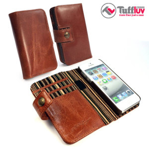 Funda iPhone 5S / 5 Tuff-Luv Vintage Wallet con RFID - Marrón