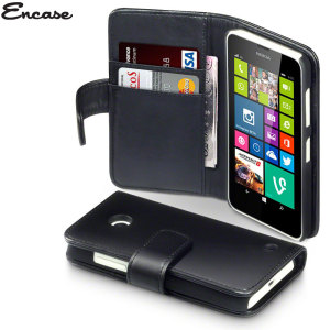A sophisticated lightweight black genuine leather case with a magnetic fastener, for ease of use. The Encase genuine leather wallet case offers perfect protection for your Nokia Lumia 630 / 635.