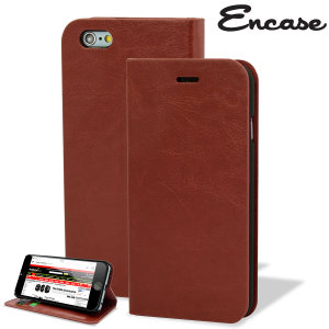 Protect your iPhone 6S / 6 with this durable and stylish brown leather-style wallet case. What's more, this case transforms into a handy stand to view media.
