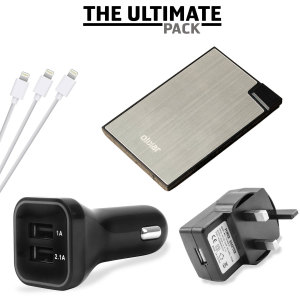 The ultimate Lightning charging pack for 'all' your Apple power needs, featuring a super fast in-car charger and mains adapter, portable power bank and 3x Lightning cables. Never be without battery power ever again!