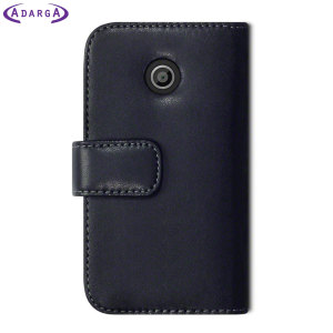 Protect your Moto E with this durable and stylish black leather-style wallet case with sleep / wake functionality. What's more, this case transforms into a handy stand to view media.