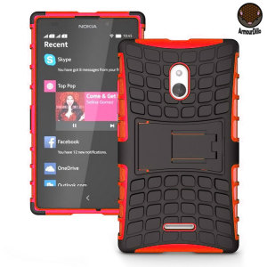 Protect your Nokia XL with this red ArmourDillo Case, comprised of an inner TPU case and an outer impact-resistant exoskeleton. This case literally takes some beating!
