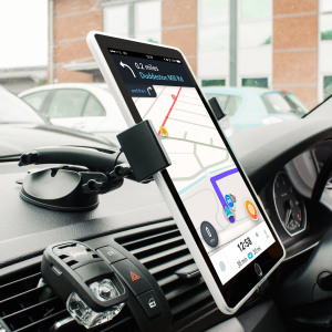 This universal tablet in-car holder will secure your device to your car's dashboard or any other surface.  With complete 360 degree movement and fully adjustable arm, you can keep the tablet out of your driving view too.