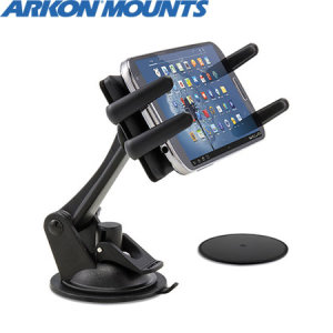 Arkon's Slim Grip Ultra Sticky Suction Smartphone Car Mount provides a strong, unobtrusive grip for use with smartphones up to 6.75 inches tall.