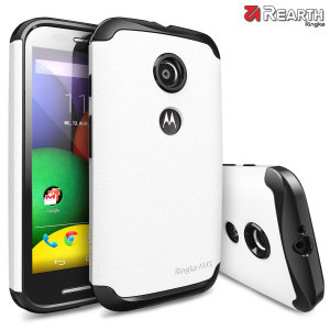 Provide your Moto E with slim yet heavy duty protection with this white Ringke dual-layered armour case. The stylish design and soft touch finish preserve the aesthetics and feel of the Moto E perfectly.