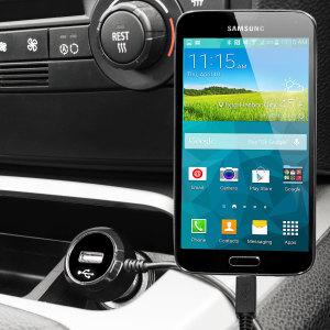 Altijd een opgeladen Samsung Galaxy S5 met deze High Power 2.4A Auto Oplader. De oplader heeft een spiraal vormig snoer en een extra USB poort om een tweede toestel op te laden.