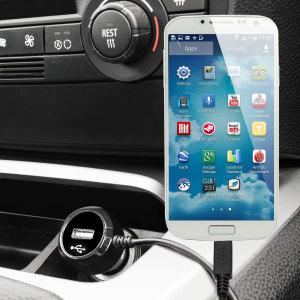 Laden Sie Ihr Micro-USB-Gerät unterwegs auf, mit diesem Hochleistungs 2.4A Galaxy S4 Kfz-Ladegerät mit ausziehbarem Spiralkabel-Design.