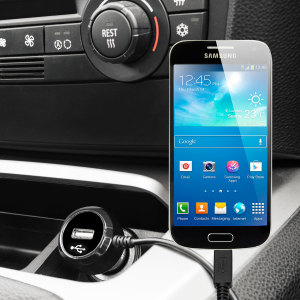 Keep your Samsung Galaxy S4 Mini fully charged on the road with this high power 2.4A Car Charger, featuring extendable spiral cord design. As an added bonus, you can charge an additional USB device from the built-in USB port!