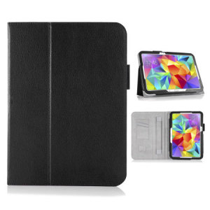Keep your Samsung Galaxy Tab S 10.5 protected from damage with this stylish leather-style folio case in black from Navitech. Complete with a built-in multi-level stand for typing and viewing media, this really is the perfect case for the Tab S 10.5.