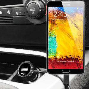 Keep your Samsung Galaxy Note 3 fully charged on the road with this high power 2.4A Car Charger, featuring extendable spiral cord design. As an added bonus, you can charge an additional USB device from the built-in USB port!