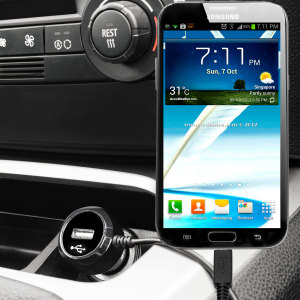Keep your Samsung Galaxy Note 2 fully charged on the road with this high power 2.4A Car Charger, featuring extendable spiral cord design. As an added bonus, you can charge an additional USB device from the built-in USB port!
