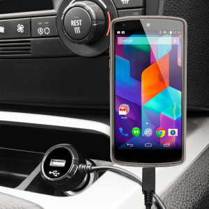 Keep your Google Nexus 5 fully charged on the road with this high power 2.4A Car Charger, featuring extendable spiral cord design. As an added bonus, you can charge an additional USB device from the built-in USB port!