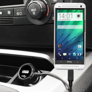 Keep your HTC One M7 fully charged on the road with this high power 2.4A Car Charger, featuring extendable spiral cord design. As an added bonus, you can charge an additional USB device from the built-in USB port!