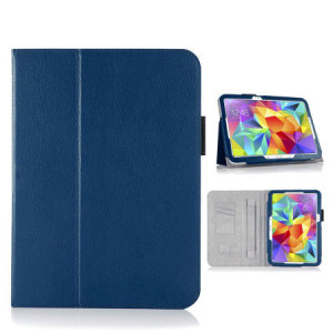 Keep your Samsung Galaxy Tab S 10.5 protected from damage with this stylish leather-style folio case in blue. Complete with a built-in multi-level stand for typing and viewing media, this really is the perfect case for the Tab S 10.5.