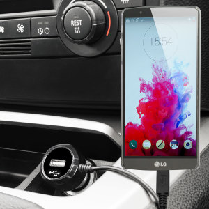 Keep your LG G3 fully charged on the road with this high power 2.4A Car Charger, featuring extendable spiral cord design. As an added bonus, you can charge an additional USB device from the built-in USB port!