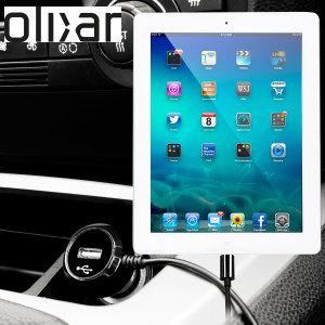 Altijd een opgeladen Apple iPad Mini met deze High Power 2.4A Auto Oplader. De oplader heeft een spiraal vormig snoer en een extra USB poort om een tweede toestel op te laden.