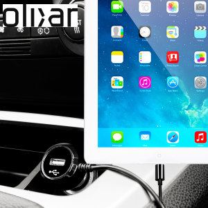 Keep your Apple iPad Air fully charged on the road with this high power 2.4A Car Charger, featuring extendable spiral cord design. As an added bonus, you can charge an additional USB device from the built-in USB port!