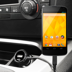 Keep your Google Nexus 4 fully charged on the road with this high power 2.4A Car Charger, featuring extendable spiral cord design. As an added bonus, you can charge an additional USB device from the built-in USB port!