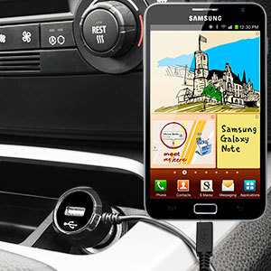 Keep your Samsung Galaxy Note fully charged on the road with this high power 2.4A Car Charger, featuring extendable spiral cord design. As an added bonus, you can charge an additional USB device from the built-in USB port!