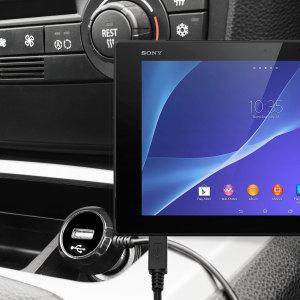 Altijd een opgeladen Sony Xperia Z2 Tablet met deze High Power 2.4A Auto Oplader. De oplader heeft een spiraal vormig snoer en een extra USB poort om een tweede toestel op te laden.