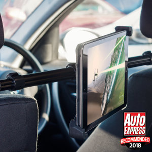 This universal tablet in-car holder will secure your device to your car's headrests allowing you to easily position a tablet in order to watch movies or play games while sitting comfortably in the back seat.