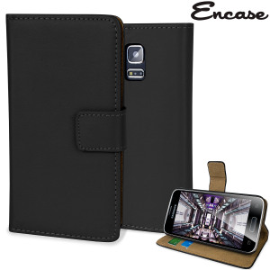 Protect your Samsung Galaxy S5 Mini in elegant luxury with a leather-effect wallet case in black. The case also includes a viewing stand, perfect for watching movies with friends and families.