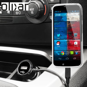 Keep your Motorola Moto X fully charged on the road with this Olixar high power 2.4A Car Charger, featuring extendable spiral cord design. As an added bonus, you can charge an additional USB device from the built-in USB port!