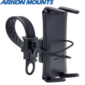 Ideal for GPS apps and listening to your music, Arkon's SM634 combines a versatile handlebar pedestal with the universal spring-loaded Slim-Grip 8 inch tablet and large phone bike holder.