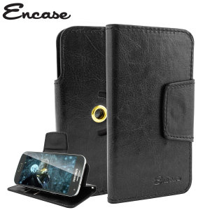 Wrap your 4 inch screen phone in luxurious, sophisticated protection with the black Encase Leather-Style Stand Case. This universal case has credit card slots and can transform into a convenient viewing stand which rotates between portrait and landscape.
