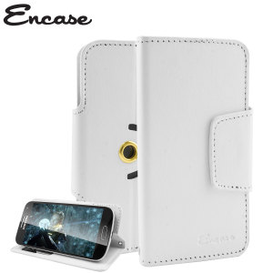 Wrap your 4 inch screen phone in luxurious, sophisticated protection with the white Encase Leather-Style Stand Case. This universal case has credit card slots and can transform into a convenient viewing stand which rotates between portrait and landscape.