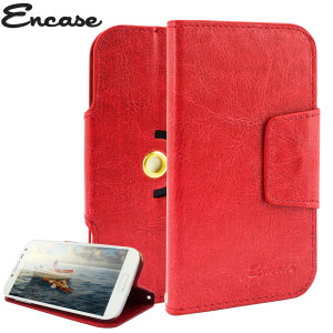 Wrap your 5 inch phone in luxurious, sophisticated protection with the red Encase Leather-Style Stand Case. This universal case has credit card slots and can transform into a convenient viewing stand which rotates between portrait and landscape.