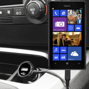 Keep your Nokia Lumia 925 fully charged on the road with this high power 2.4A Car Charger, featuring extendable spiral cord design. As an added bonus, you can charge an additional USB device from the built-in USB port!