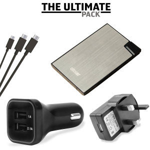 The ultimate Micro USB charging pack for 'all' your power needs, featuring a super fast in-car charger and mains adapter, portable power bank and 3x Micro USB cables. Never be without battery power ever again!