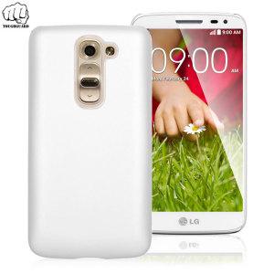 Guscio modellato su misura in materiale gommato leggero e ultra sottile, per proteggere a lungo il tuo LG G2 Mini. Colore bianco.