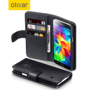 A sophisticated lightweight black genuine leather case with a magnetic fastener. The Olixar Premium genuine leather wallet case offers perfect protection for your Samsung Galaxy S5, as well as slots for your cards, cash and documents.