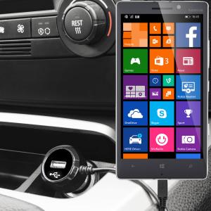 Mantenga su dispositivo Nokia Lumia 930 totalmente cargado mientras conduce con este cargador de coche con cable en espiral extensible. Además tiene un puerto adicional USB para poder cargar otro aparato.