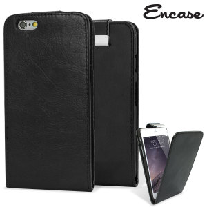 Protect your Apple iPhone 6 Plus smartphone with this stylish and protective textured black leather-style wallet flip case by Encase. Featuring inner pouches for your most important cards so you can leave your wallet at home.