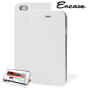 Protect your iPhone 6 Plus with this durable and stylish white leather-style wallet case. What's more, this case transforms into a handy stand to view media.