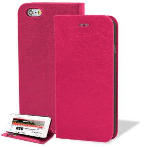 Proteggi con stile il tuo iPhone 6 Plus con questa custodia a portafogli in ecopelle della Encase. La cover dispone anche di un supporto per poter guardare comodamente video. Colore rosa.