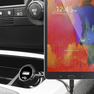 Keep your Samsung Galaxy Tab S 8.4 fully charged on the road with this high power 2.4A Car Charger, featuring extendable spiral cord design. As an added bonus, you can charge an additional USB device from the built-in USB port!