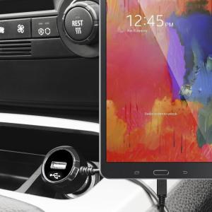 Altijd een opgeladen Galaxy Tab S 8.4 met deze High Power 2.4A Auto Oplader. De oplader heeft een spiraal vormig snoer en een extra USB poort om een tweede toestel op te laden.