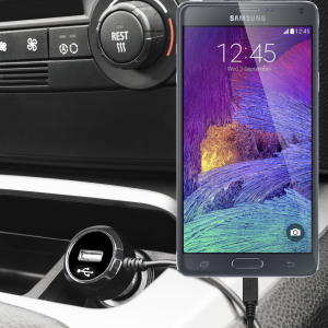 Keep your Samsung Galaxy Note 4 fully charged on the road with this high power 2.4A Car Charger, featuring extendable spiral cord design. As an added bonus, you can charge an additional USB device from the built-in USB port!