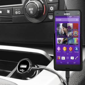 Altijd een opgeladen Sony Xperia Z3 Compact met deze High Power 2.4A Auto Oplader. De oplader heeft een spiraal vormig snoer en een extra USB poort om een tweede toestel op te laden.