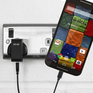 Charge your Motorola Moto X 2nd Gen quickly and conveniently with this 2.5A high power charging kit. Featuring mains adapter and USB cable.