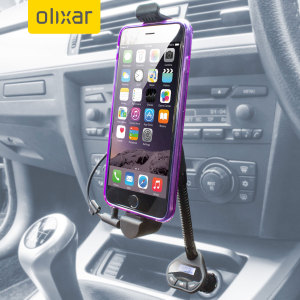 The RoadWarrior Car holder features an integrated Lightning iPhone 6 / 6 Plus charger, additional 1 Amp USB Car Charger and FM Transmitter enabling you to wirelessly transmit music and hands-free calls through your car's stereo system.