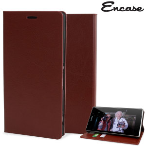 Protect your Sony Xperia Z3 with this durable and stylish brown leather-style wallet case. What's more, this case transforms into a handy stand to view media.